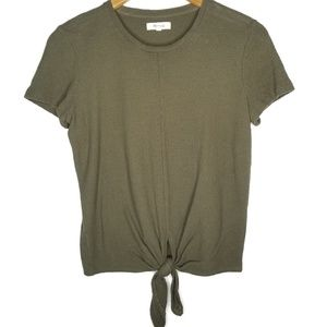 Madewell Olive Tie Tshirt Small 100% cotton